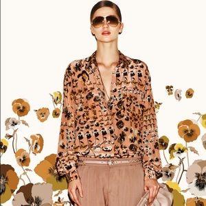 Gucci Oshibana Print Silk Blouse Pre Fall '12